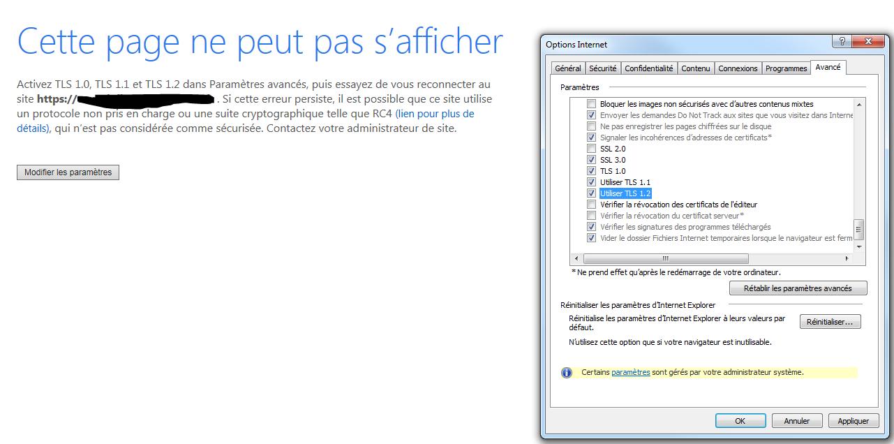 Erreur Tls Dans Internet Explorer Le Cloud De Piermick