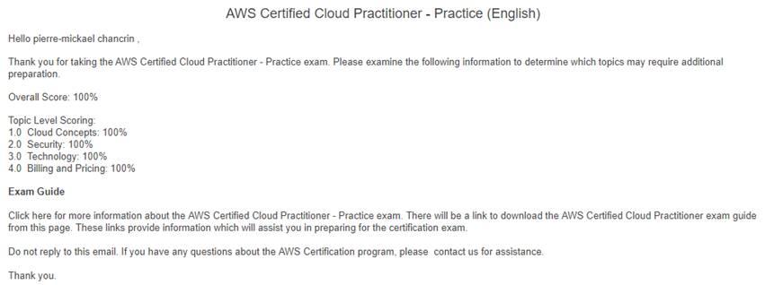 Examen Blanc AWS Cloud Practitioner… 100% – Le cloud de Piermick